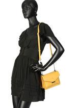 Shoulder Bag Cabriole Leather Etrier Yellow cabriole ECABR02-vue-porte