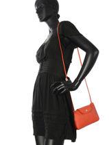 Longchamp Sacs porté travers Orange-vue-porte