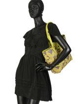 Shoulder Bag A4 Tropical Lulu castagnette Yellow tropical KABIL-vue-porte