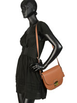Leather Shoulder Bag Kimberley Mac douglas Brown romy KIMROM-M-vue-porte