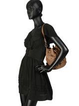 Leather Bucket Bag Studs Basilic pepper Brown studs BSTU09-vue-porte