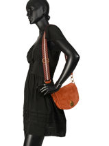Longchamp Cavalcade wild Messenger bag Brown-vue-porte