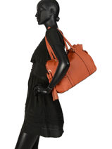 Leather Tote Bag Tradition Etrier Orange tradition EHER25-vue-porte