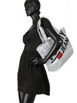 Semi-transparant Shoulder Bag A4 Tommy Jeans Tommy hilfiger White tju AU00590-vue-porte