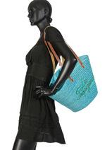 Sac Shopping Milos Les tropeziennes Bleu milos MIL01-vue-porte