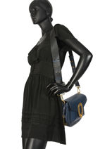Large Shoulder Bag Romane Leather Lancel Blue romane A10061-vue-porte