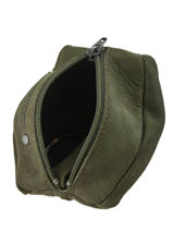 Purse Leather Foures Green 9229-vue-porte