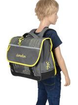 Cartable Enfant 3 Compartiments Cameleon Gris basic BAS-CA41-vue-porte