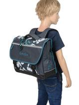 Satchel For Kids 2 Compartments Cameleon Blue basic BAS-CA38-vue-porte