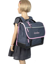 Satchel For Kids 3 Compartments Cameleon Blue basic BAS-CA41-vue-porte