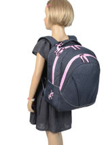 Backpack For Kids 2 Compartments Cameleon Blue basic BAS-SD43-vue-porte