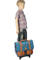 Wheeled Schoolbag 2 Compartments Cameleon Blue vintage print boy VIB-CR38-vue-porte