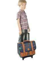 Wheeled Schoolbag For Boys 2 Compartments Cameleon Blue vintage print boy VIB-CR38-vue-porte