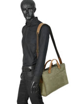Leather Laptop Bag Leisure Ruitertassen Green leisure 4050-vue-porte