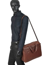 Leather Jasper Briefcase Arthur et aston Brown jasper 1589-35-vue-porte