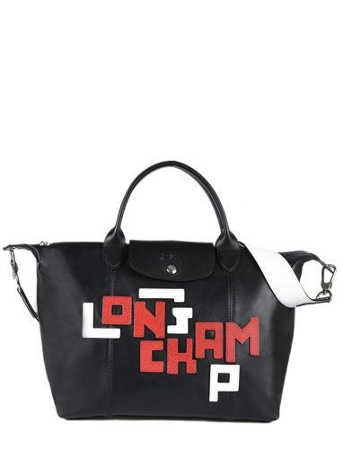 Longchamp Le pliage cuir lgp Sacs porté main Noir