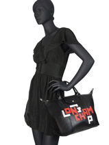 Longchamp Le pliage cuir lgp Handbag Black-vue-porte
