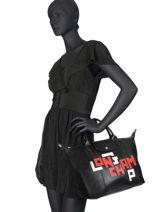Longchamp Le pliage cuir lgp Sacs porté main Noir-vue-porte