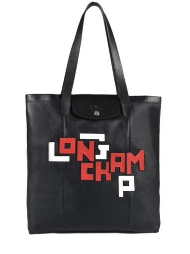 Longchamp Le pliage cuir lgp Besaces Noir