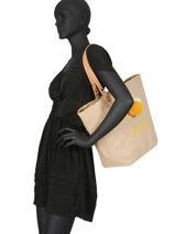 Jute Tote Bag A4 Format Miniprix Yellow jute 87556-vue-porte