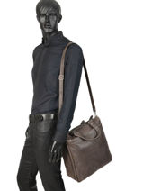 Leather Destroy Business Bag Arthur et aston Black destroy 62-1074-vue-porte