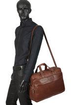 Leather Jasper Briefcase Arthur et aston Brown jasper 1589-37-vue-porte
