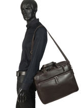 Leather Foulonné Briefcase/backpack Hybrid Etrier Brown foulonne EFOU02-vue-porte