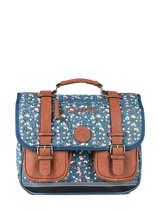 Satchel For Girls 2 Compartments Cameleon Blue vintage print girl VIG-CA35