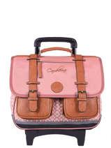 Wheeled Schoolbag For Girls 2 Compartments Cameleon Pink vintage print girl VIG-CR38
