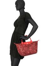 Longchamp Le pliage fleurs Sacs porté main Rouge-vue-porte