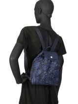 Longchamp Le pliage fleurs Backpack Blue-vue-porte