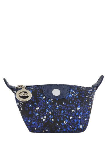 Longchamp Le pliage fleurs Coin purse Blue