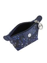 Longchamp Le pliage fleurs Porte-monnaie Bleu-vue-porte
