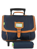 Satchel With Wheels With Matching Pencil Case Tann's Blue les unis 42111