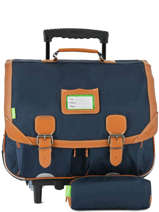 Satchel With Wheels With Matching Pencil Case Tann's Blue les unis 43111