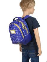 Backpack 2 Compartments Cameleon Blue retro RET-SD31-vue-porte