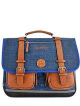 Satchel 3 Compartments Cameleon Blue vintage print boy VIB-CA41