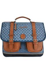 Satchel For Girls 3 Compartments Cameleon Blue vintage print girl VIG-CA41