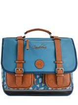 Satchel 3 Compartments Cameleon Blue vintage print girl VIG-CA41