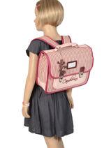 Satchel For Kids 1 Compartment Cameleon Pink retro vinyl REV-CA32-vue-porte