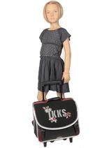 Wheeled Schoolbag 2 Compartments Ikks Black black tea 42814-vue-porte