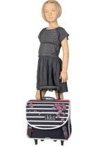 Wheeled Schoolbag 2 Compartments Ikks Blue i love my mariniere 42821-vue-porte
