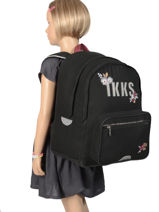 Backpack 2 Compartments Ikks Black black tea 63814-vue-porte