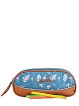 Pencil Case For Girls 2 Compartments Cameleon Blue vintage print girl VIG-TROU-vue-porte