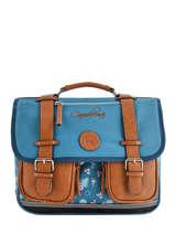 Cartable 2 Compartiments Cameleon Bleu vintage print girl VIG-CA35