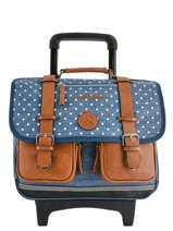 Wheeled Schoolbag 2 Compartments Cameleon Blue vintage print girl VIG-CR38