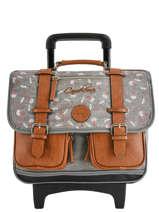 Wheeled Schoolbag For Girls 2 Compartments Cameleon Gray vintage print girl VIG-CR38