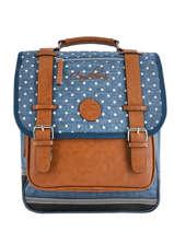 Backpack 2 Compartments Cameleon Blue vintage print girl VIG-SD38