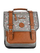 Backpack For Girls 2 Compartments Cameleon Gray vintage print girl VIG-SD38