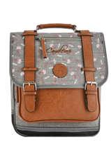 Backpack For Girls 2 Compartments Cameleon Gray vintage print girl VIG-SD38